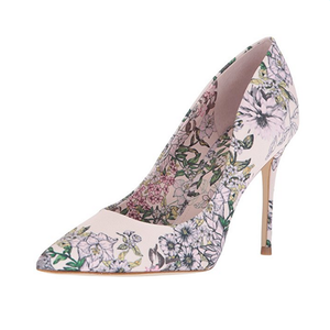Designer print flower women stiletto dress shoes