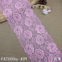 19 cm New fashion pink floral stretchable lace