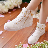 SF1004 New Style Canvas Shoes Korean Side Zipper Belt Buckle High Upper Leisure Flat Shoes