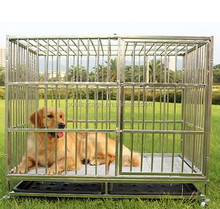 Strong Stainless Steel Dog Cage With Wheels And Plastic Floor