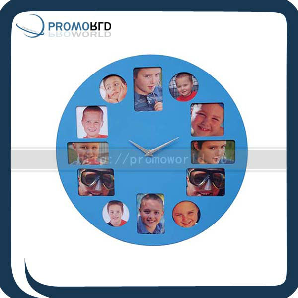 Round Flip Wall Clock With Photo Frame