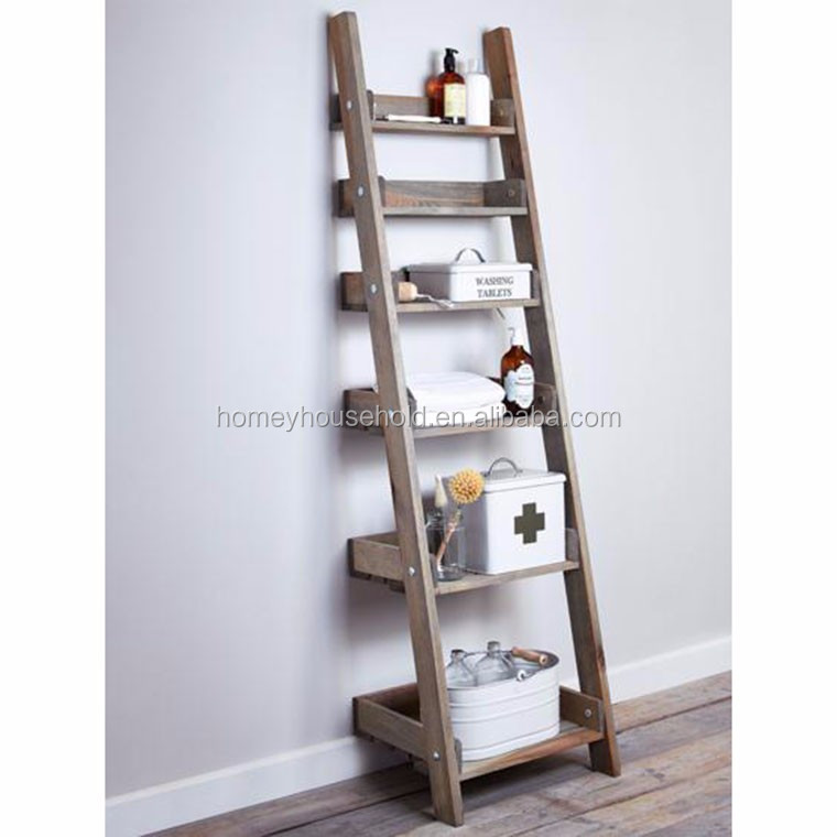 Home furniture high quality wall mount wooden ladder shelf