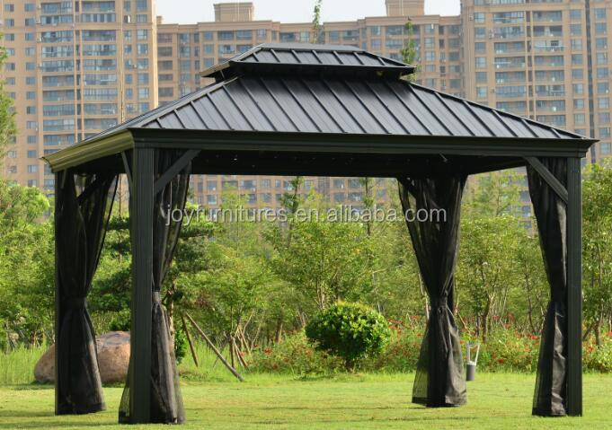 3X3.65M Metal Panel Hard Top Gazebos Double Solid Roof Outdoor Garden Gazebos