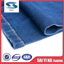 Good color fastness blue spandex terylene yarn dyed jeans denim fabric