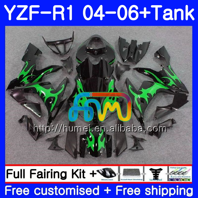 Body kit For YAMAHA YZF 1000 R 1 green flames YZF <strong>R1</strong> <strong>04</strong> 05 06 95HM50 YZF-1000 YZF-<strong>R1</strong> 2004 2005 2006 YZF1000 YZFR1 <strong>04</strong> 06 <strong>Fairing</strong>