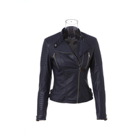 High quality navy girls genuine leather jacket