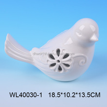 Elegant white porcelain bird figurine with hollow-out design