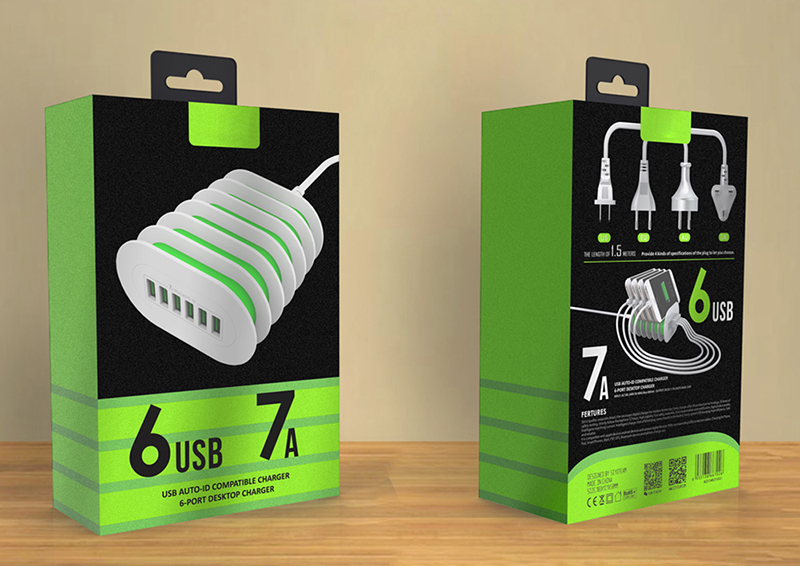 New Design Desktop Charger With 6 USB Port 7A Auto-ID Hot Sale Charger Device