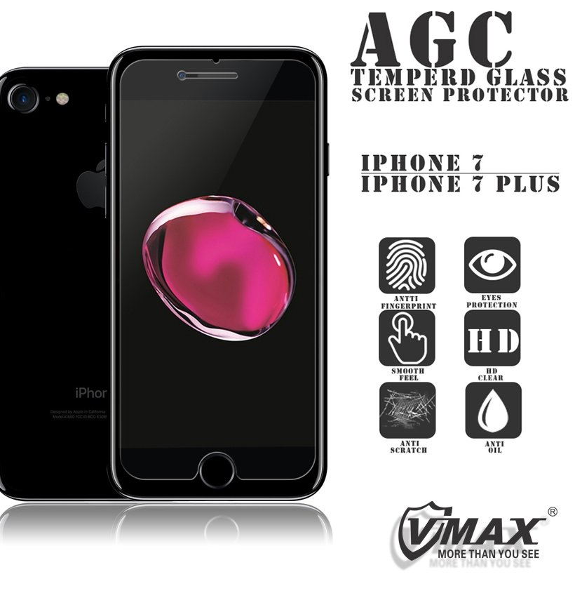 Vmax supply high quality 9H Hardness Clear LCD mobile phone tempered glass screen protector for iphone 7 / 7plus / 6 / 6s