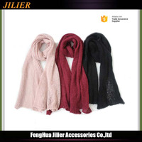 2016 wholesale Winter Warm Acrylic Knitted Solid color Long Scarf for women and men