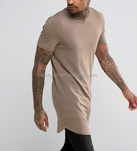 Men's Slim Fit Short Sleeve T-Shirt Soft Tan 96% Cotton 4% Elastane Longline Curved Hem T Shirt