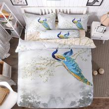 Artistic Peacock Printed Reversible Duvet Cover in Chinese Ink Painting Scenery