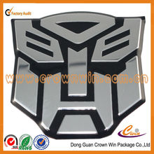 customized 3D transformers metal car sticker embossed metal sticker