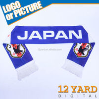 Promotion good quality popular design JAPAN style custom logo&color soccer fans elegant double side scarf