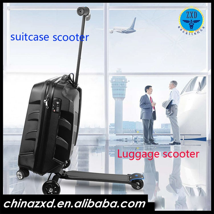 Man and lady three wheel scooter luggage manufacturer factory oem foldable trolley luggage