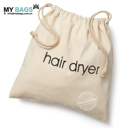 custom wholesale drawstring hair dryer cheap cotton calico canvas shoe drawstring bag with logo print