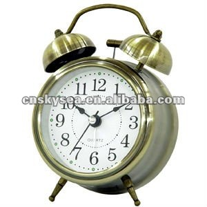 3 inches metal double bell alarm clock, home decor
