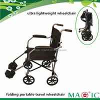 2014 new Folding Lightweight Portable Travel Wheelchair For Disabled Elderly People with travel carry bag