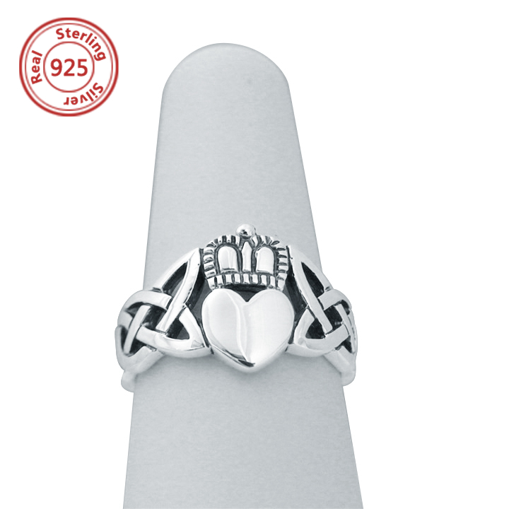 irish heart celtic unisex claddagh ring handcrafted 925 sterling silver celtic ring