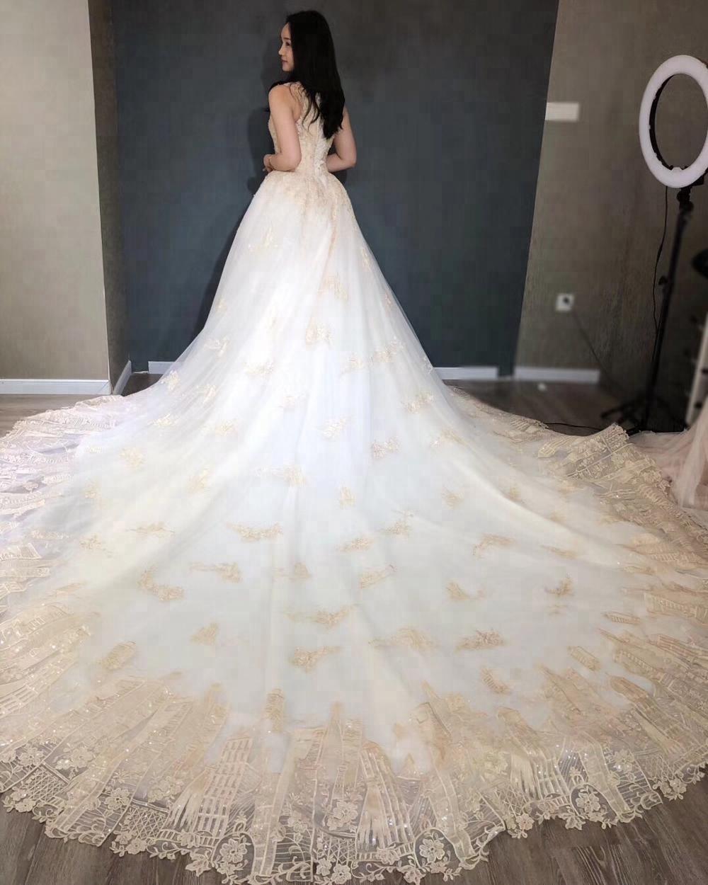 Luxury Gold Wedding Dress Bridal Gown 2018 - Buy Wedding Dress 2018 ...
