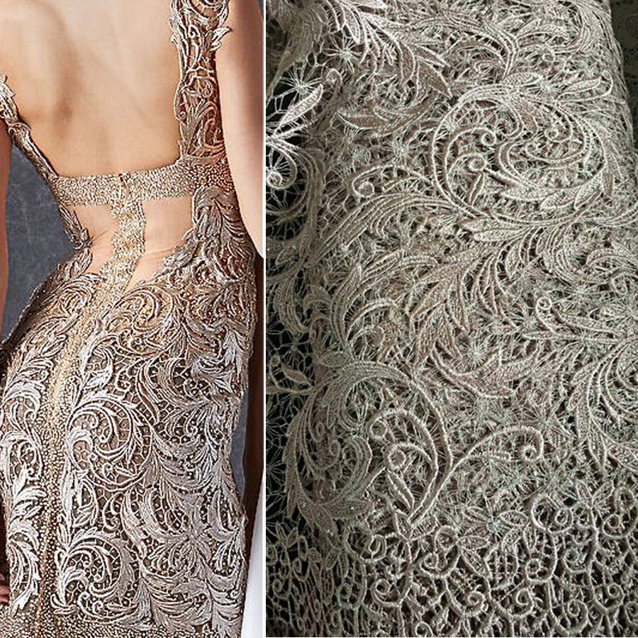 Fashion cotton guipure lace fabric cord lace fabrics evening dress