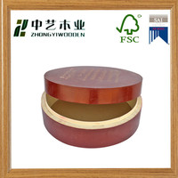 FSC wood crafts tea bag chest round shape red color drop off lid wooden tea bag storage box for storage and display tea bags