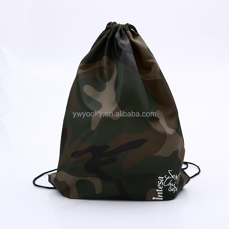 Cheap promotional 210D drawstring style camouflage bags