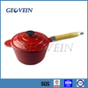China supplier Cast Iron pot Enamel saucepans with wooden handle