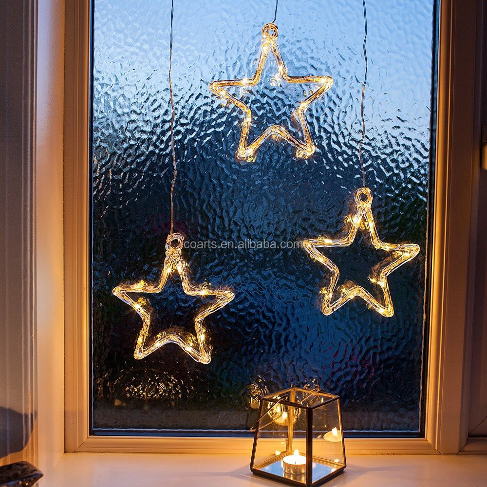 Battery Operated Warm White LED Acrylic Star Hanging Window Light