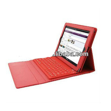 Red Leather Case with Bluetooth Wireless Keyboard for Ipad2/3
