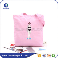Popular Tote bags Pink Girl canvas kit bags with custom letters