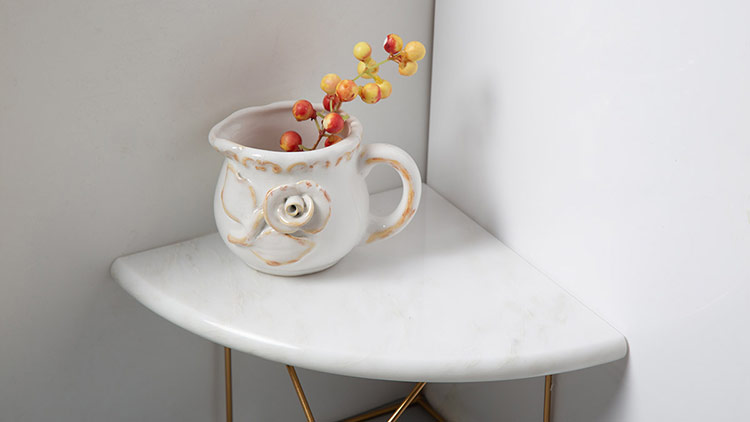 Oriental White Marble Bathroom Corner Shelf