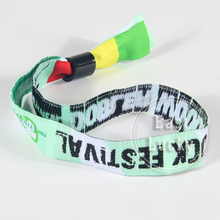 Festival fabric custom wrist band with rfid chip disposable woven wristband