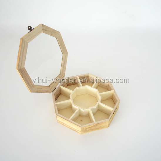Small Wood Packaging Gift Storage Box with Top Glass Lid