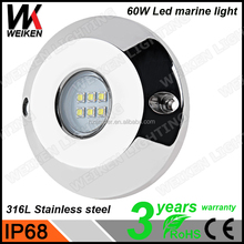 New Function Customized LOGO 60W 316L Stainless Steel multi color led underwater light 12 volts