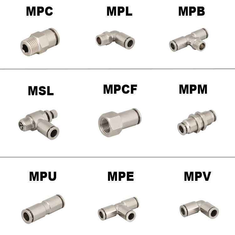 Brass Nickel Plating Metal Pneumatic Fitting , Pneumatic Metal Connection , Metal Pneumatic Joint