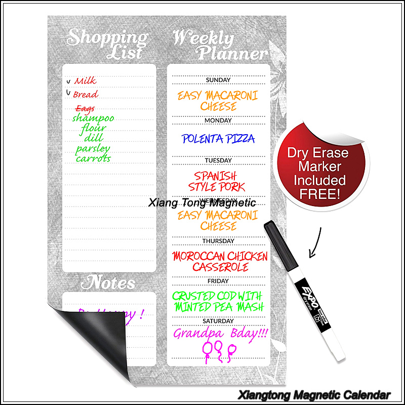 Magnetic 11x17 Dry Erase Shopping List , Weekly Calendar Planner and Memo Board for Refrigerator with a Dry Erase Marker