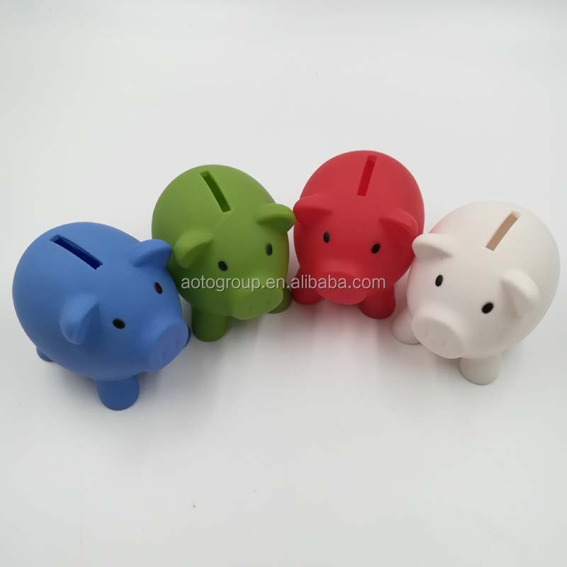 Customized PVC Small Pig Shaped Piggy Coin Bank for promotion