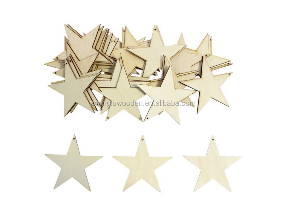 Wooden Stars Shape Craft Tags Plaques Decorative wood christmas ornaments