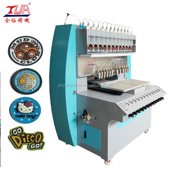 2017 last technology dripping pvc liquid logo machine , logo mat machine