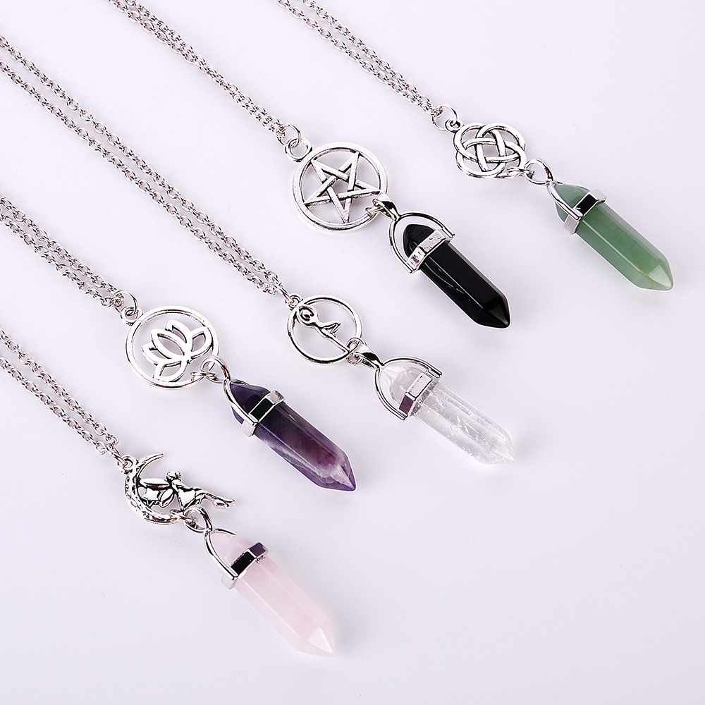 New Arrival Bullet Head Natural Stone Crystal Charm Necklace for Woman