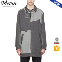 Top Quality Grey Mens Long Knit Patchwork Coats