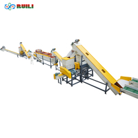 Used Plastic PET bottle flakes crushing, hot washing & drying recycling machines line with factory price