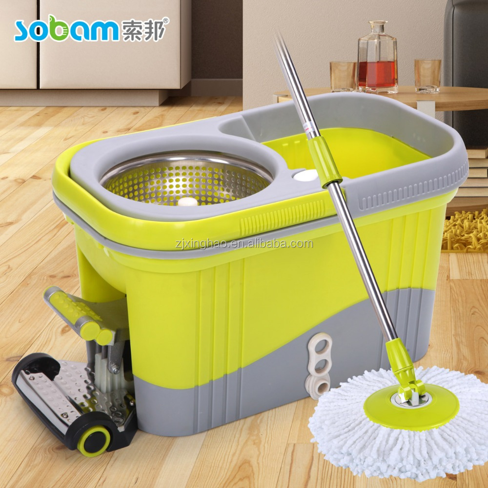 static mop with two mop heads and handle