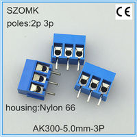 blue plastic terminal block connector of 2 pins or 3 pins and 5.0mm spacing as terminator for pcb, din rail and electronics