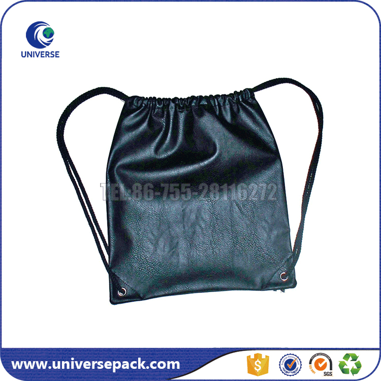 OEM factory black pu leather backpack bag with drawstring