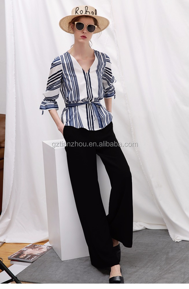 Blue and white stripe loose casual deep-v neckline blouse with waist belt for office lady