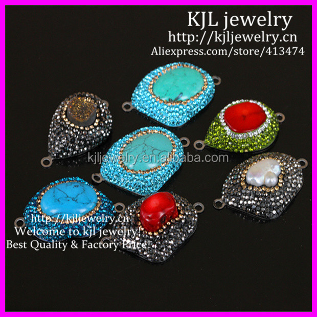 KJL-BD5351 Wholesale Nature Turquoise stone Crystal Rhinestones Stainless Steel Connector Druzy Agate Quartz connectors