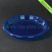 "Bright Coloured 9"" Round Plastic PET Party Tray Clear In Blue"