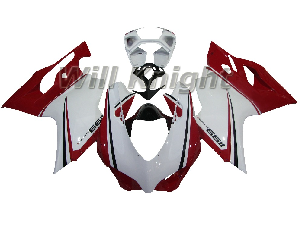 Injection Fairings For Ducati 1199 Panigale 12 13 14 ABS Plastic Red White Fairing Kit for 1199 2012 2013 2014